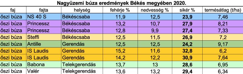 2.táblázat: Őszi búza nagyüzemi eredményei Békés megyében 2020-ban.