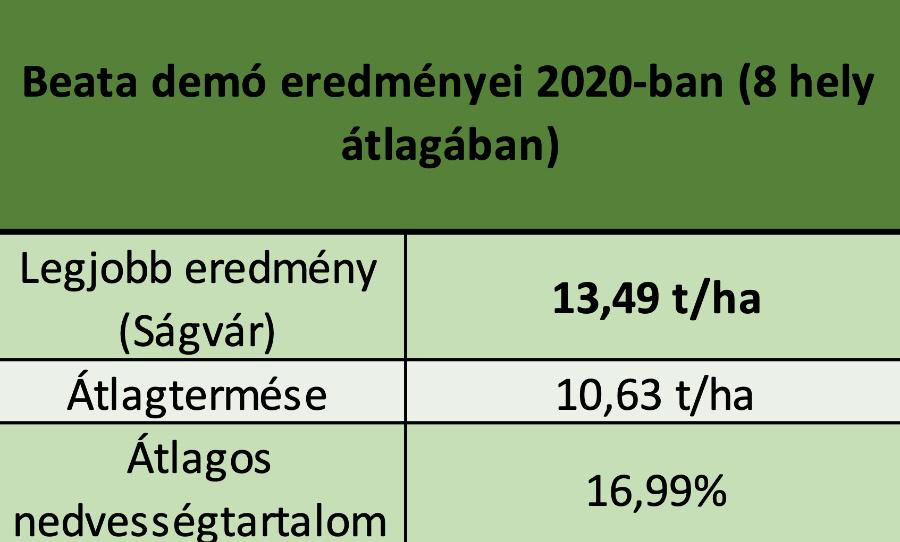 1.Táblázat: Beata (FAO 330) demó eredményei 2020-ban